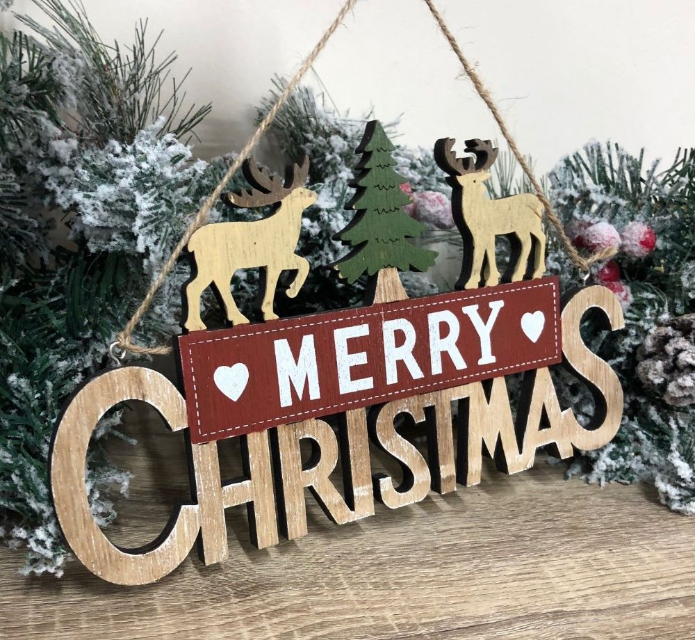 Reindeer Merry Christmas Wooden Hanging Christmas Sign